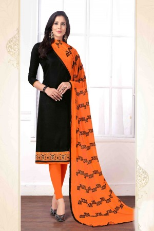 Black Cotton buti dress material