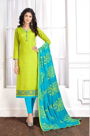 Olive green Cotton buti dress material