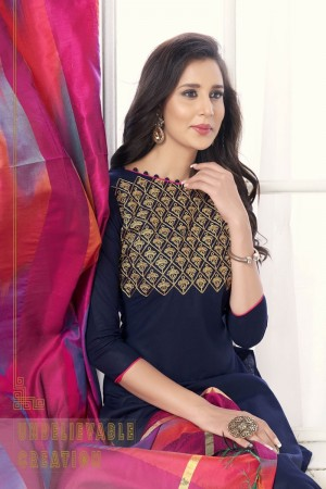 Navy blue Pc Cotton dress material