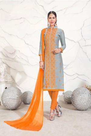 Grey Chanderi dress material