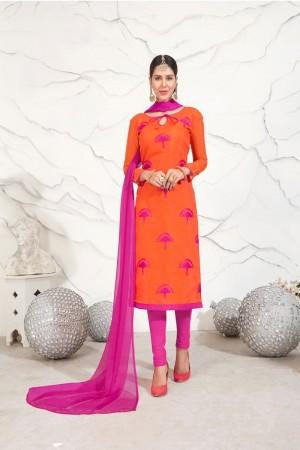 Orange Chanderi dress material
