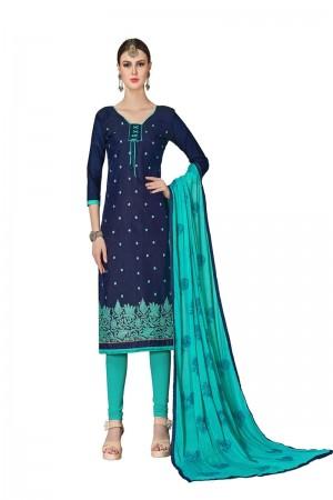 Navy blue Chanderi dress material