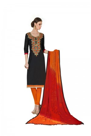 Black Chanderi dress material