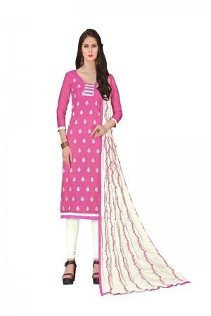 Pink Chanderi dress material