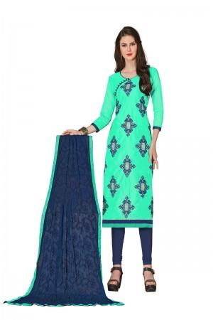 Olive green Chanderi dress material