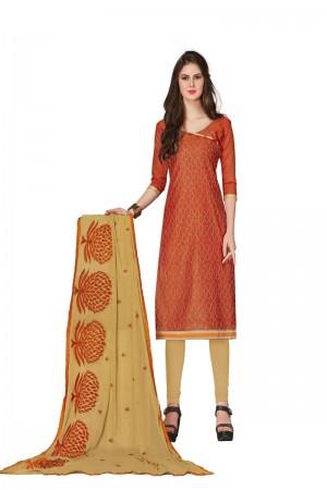 Dark orange Chanderi dress material