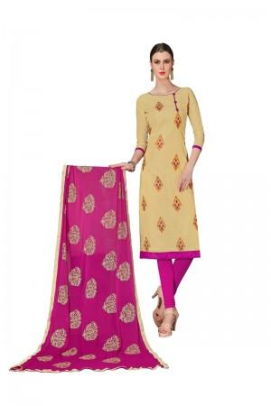 Cream Chanderi dress material