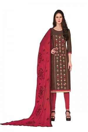 Brown Chanderi dress material