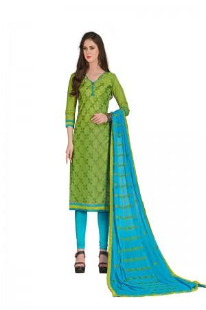 Parrot green Chanderi dress material