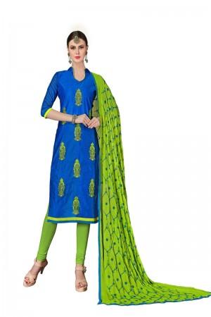 Royal blue Chanderi dress material