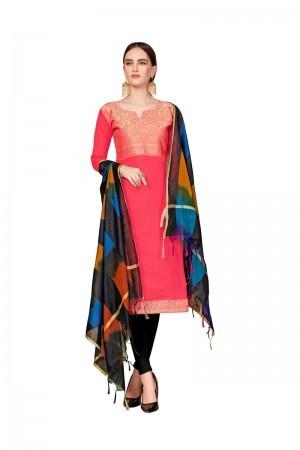 Coral Banarasi dress material