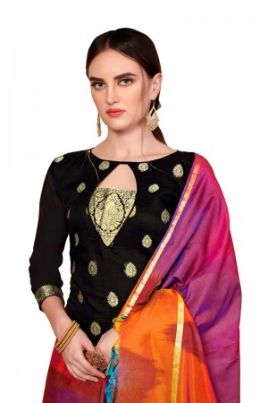 Black Banarasi dress material