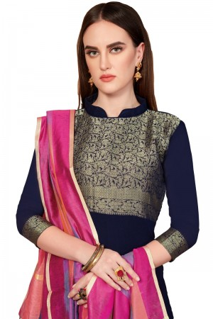 Navy Blue Banarasi dress material