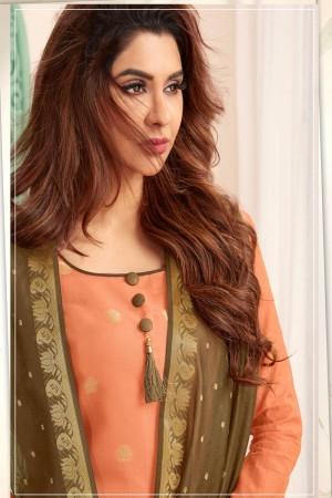 Peach Banarasi dress material