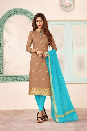 Light Brown Banarasi dress material
