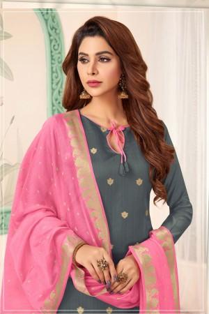 Grey Banarasi dress material
