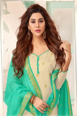 Off white Banarasi dress material