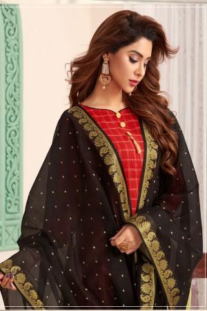 Red Banarasi dress material