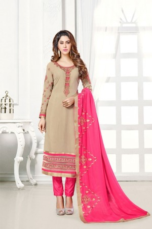 Dark cream Georgette dress material