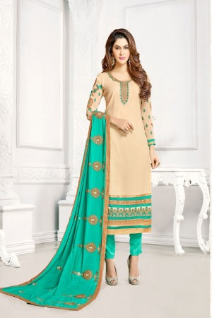 Cream Georgette dress material