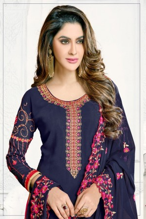 Navy blue Georgette dress material