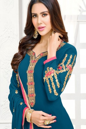 Aqua blue Georgette dress material