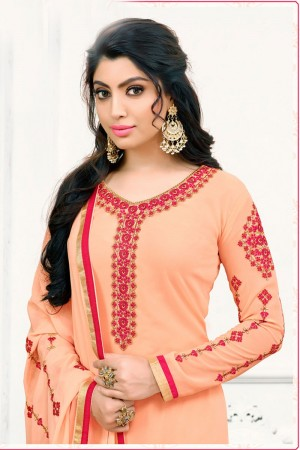 Peach Georgette dress material