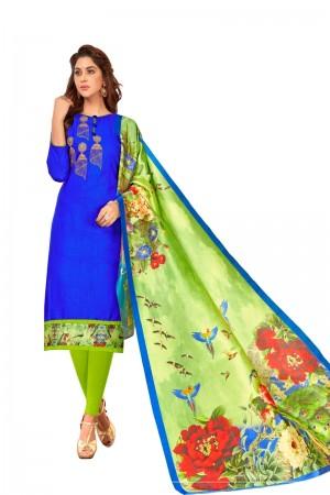 Royal blue Slub Cotton dress material