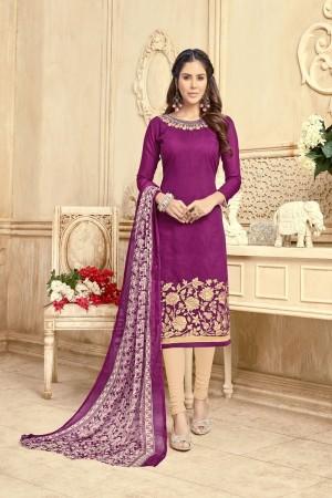Purple Chanderi dress material