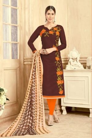 Brown Chanderi dress material