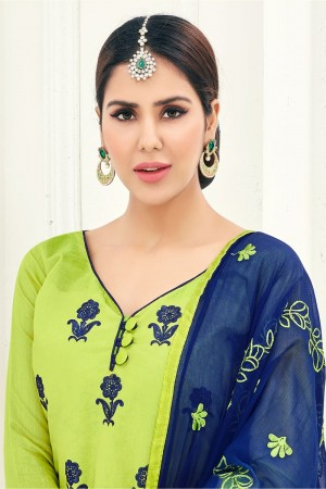 Parrot green Chanderi dress material