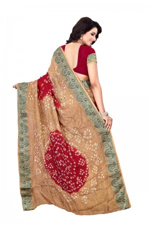 Stupendous Cotton Silk Beige and Maroon Bandhej Women's Bandhani Saree