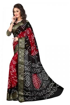 Mind Blowing Cotton Silk Black and Red Bandhej Women's Bandhani Saree