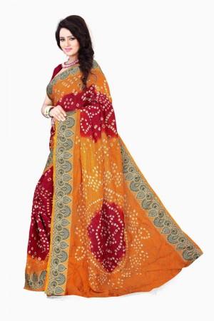 Pleasant Cotton Silk Mustard and Maroon Bandhej Women's Bandhani Saree