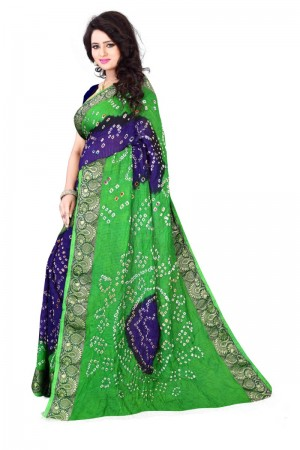 Rust Cotton Silk Green and Blue Bandhej Women's Bandhani Saree