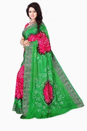 Impressive Cotton Silk Green and Pink Bandhej Women's Bandhani Saree