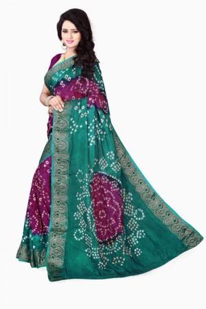 Stylish Cotton Silk Meganta and Green Bandhej Women's Bandhani Saree