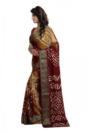 Fab Cotton Silk Maroon and Mustard Bandhej Women's Bandhani Saree