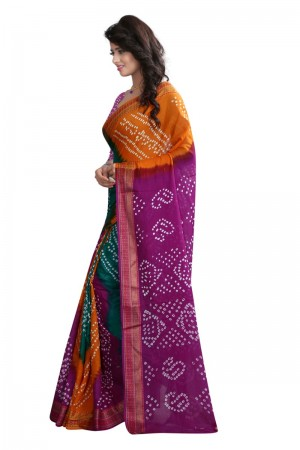 Graceful Pure Cotton Multi Bandhej Women's Bandhani Saree
