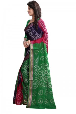 Bewitching Pure Cotton Multi Bandhej Women's Bandhani Saree
