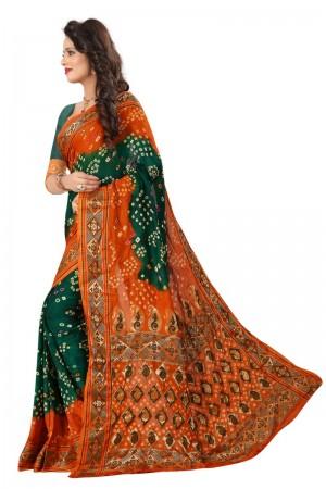 Bedazzling Cotton Silk Mustard and Rama Bandhej Women's Bandhani Saree