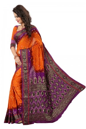 Splendiferous Cotton Silk Purple and Mustard Bandhej Women's Bandhani Saree