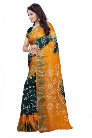 Attractive Cotton Silk Mustard and Green Bandhej Women's Bandhani Saree