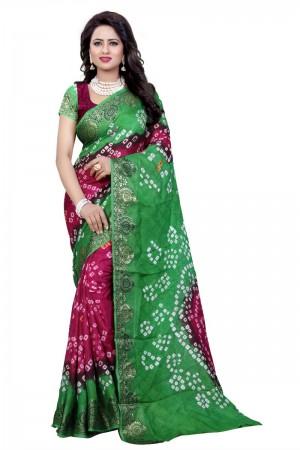 Enthralling Cotton Silk Parot and Pink Bandhej Women's Bandhani Saree