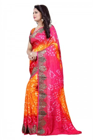 Captivating Cotton Silk Mustard and Pink Bandhej Women's Bandhani Saree