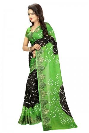 Stunning Cotton Silk Parot and Black Bandhej Women's Bandhani Saree