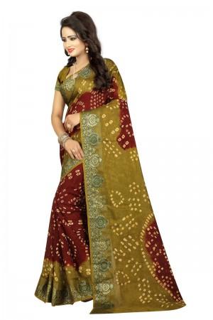 Angellic Cotton Silk Maroon and Dark Mustard Bandhej Women's Bandhani Saree