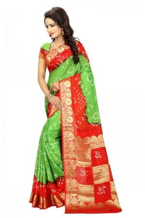 Ethnic Cotton Silk Parot and Fanta Bandhej Women's Bandhani Saree