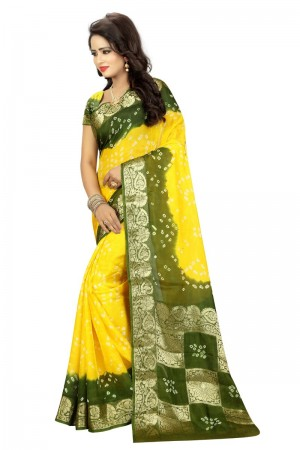Distinctive Cotton Silk Mahendi and Yellow Bandhej Women's Bandhani Saree
