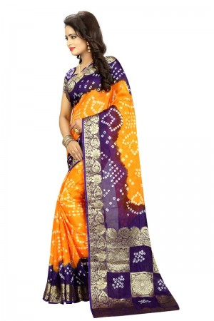 Ambitious Cotton Silk Purple and Mustard Bandhej Women's Bandhani Saree